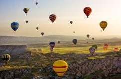 The great tourist attraction of Cappadocia - balloon flight. Cap. Padocia is known around the world as one of the best places to fly with hot air balloons stock images