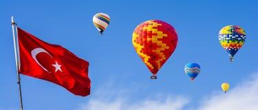 The great tourist attraction of Cappadocia - balloon flight. Cap royalty free stock photos