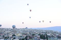 The great tourist attraction of Cappadocia - balloon flight. Cap. Hill, beauty. royalty free stock photo