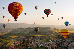The great tourist attraction of Cappadocia - balloon flight. Cappadocia, Turkey Stock Photos