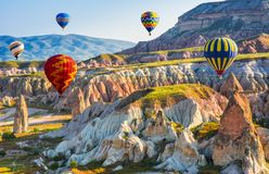 The great tourist attraction of Cappadocia - balloon flight. Cap royalty free stock photo