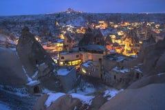 The great tourist place Cappadocia - at night time with beautiful light. Goreme, Cappadocia, Turkey Stock Photos