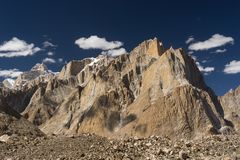 Great Trango tower and Cathedral tower cliff at Khobutse camp, K Stock Photos