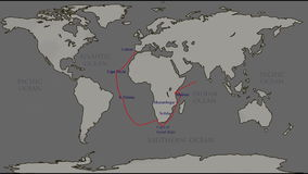 The great travels the world - Vasco da Gama. Vasco da Gama. great geographical discoveries. route to India stock footage