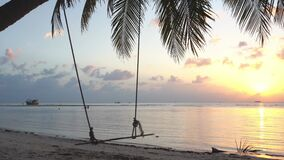 Great tropical beach. Sunset, a swing sways on a palm tree. Calmness and comfort. 4k video.