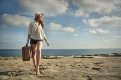 A great vacation. A woman travelling on vacation Royalty Free Stock Photography