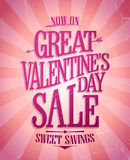 Great Valentine day sale banner, sweet savings design. Stock Image