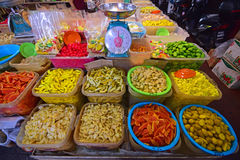 Great Variety of Fruit pickles displayed and sold in Pulau Penang Royalty Free Stock Image