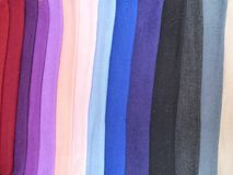 Great variety oc colorful scarfs at the market Royalty Free Stock Photography