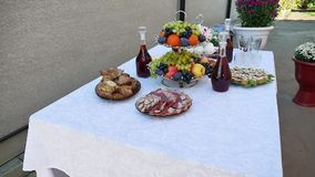 Great variety of salads on a buffet table. buffet table the home wine outdoors meat and fruit. Great variety of salads on buffet table. buffet table the home stock footage
