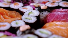 Great variety of sushi on a plate. Food photography stock footage