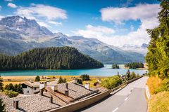 Great view of the azure pond Champfer. Location Swiss alps, Silv Royalty Free Stock Photo