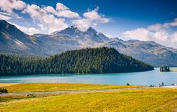 Great view of the azure pond Champfer. Location Swiss alps, Silv Royalty Free Stock Images