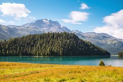 Great view of the azure pond Champfer. Location Swiss alps, Silv Royalty Free Stock Image