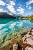 Great view of the azure pond Champfer. Location Swiss alps, Silv Stock Photography