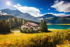 Great view of the azure pond Champfer. Location Swiss alps, Silv Stock Images