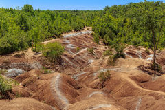 Great view of Badlands background example of badlands formation in Caledon, Ontario. Royalty Free Stock Photos