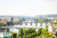 Great View On Bridges In Prague Located On River Vltava Stock Photography