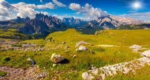 Great view of the Cadini di Misurina range, Cristallo and Sorapi Stock Photography