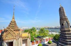 Great view of the Chao Phraya River in Bangkok. Temple of Wat Arun Stock Photos