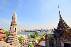 Great view of the Chao Phraya River in Bangkok. Temple of Wat Arun Royalty Free Stock Photography