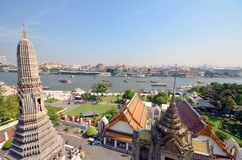 Great view of the Chao Phraya River in Bangkok temple of Wat Arun Stock Photo