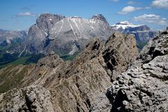 Great view of dolomite mountain landscape / distinctive sassolungo in gardena valley Royalty Free Stock Photography