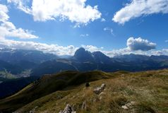 Great view of famous sella group and distinctive sassolungo mountain group Royalty Free Stock Photos