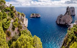 Great view of Faraglioni Tyrrhenian sea and Capri island cliff Stock Photo