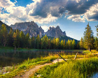 Great view of the foggy Lago Di Antorno in National Park Tre Cim Stock Image