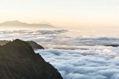 Great view of the foggy Mt.Bromo. East Java, Indonesia royalty free stock image