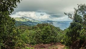 Great view from the hill. In the Seychelles stock photos
