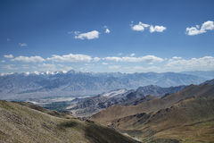 Great view of Himalayan mountain range and green valley of Leh Ladakh stock photos