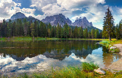 Great view of the  Lago Di Antorno in National Park Tre Cime di Royalty Free Stock Photography