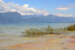 Great view of Lake Garda from Sirmione beach, Italy Royalty Free Stock Images