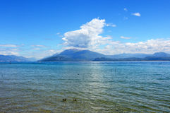 Great view of Lake Garda from Sirmione beach, Italy Royalty Free Stock Photos
