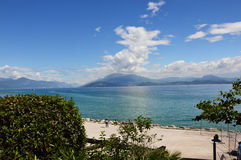 Great view of Lake Garda from Sirmione beach, Italy stock image