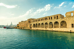 Great view of Maltese fort wall with arches in Valletta Royalty Free Stock Photos