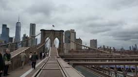 The great view of Manhattan from Brooklyn Bridge royalty free stock image