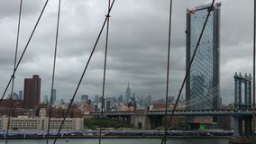 The great view of Manhattan from Brooklyn Bridge. Of New York,you can see Manhattan Bridge royalty free stock photos