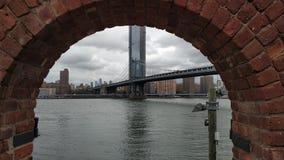 The great view of Manhattan. And Manhattan Bridge of New York stock photography