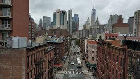 The great view of Manhattan. From Manhattan Bridge of New York royalty free stock image