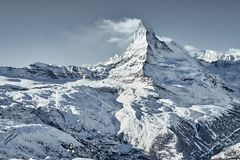 Great view of Matterhorn East facefrom Zermatt stock photo