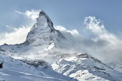 Great view of Matterhorn East facefrom Zermatt stock image