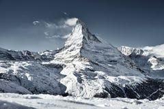 Great view of Matterhorn East facefrom Zermatt stock photography