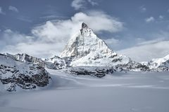 Great view of Matterhorn East facefrom Zermatt royalty free stock image