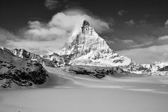 Black and white contrast great view of Matterhorn East facefrom Zermatt royalty free stock photography