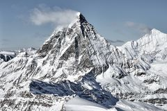 Great view of Matterhorn East facefrom Zermatt stock photos