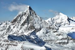 Great landscape view of Matterhorn south wall from Swiss - Italian boarder royalty free stock images