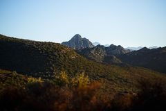 A great view of mountains of the Corsica island, France. Horizontal view stock photography
